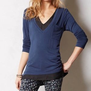 Anthropologie Bordeaux navy/black layered top M